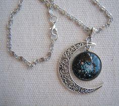 Galaxy Crescent Moon Necklace