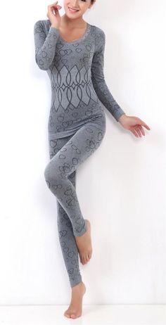 LANBAOSI Women's Lace Stretch Seamless Top & Bottom Thermal Underwear Set Dark grey Size Free Size