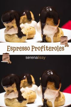 A twist of the traditional profiteroles - a bit of espresso is added to the choux pastry. The crispy, hollow shells are then filled with cinnamon ice cream and topped with chocolate glaze. Creative Desserts, Easy Desserts, Delicious Desserts, Dessert Recipes, Choux Pastry, Pastry Art, Chocolate Glaze, Chocolate Desserts, Cinnamon Ice Cream