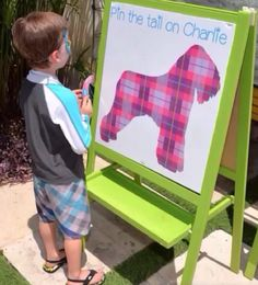 Pin The Tail On The Puppy. Custom sign and props by #bambinisoiree #designplanplay