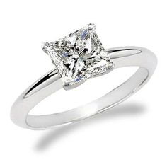 3/4 Carat Princess Cut Diamond Solitaire Engagement Ring 14K White Gold (J, I2, 0.74 c.t.w) Very Good Cut