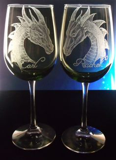 Green Wine glass set of two ,Dragon Wedding goblets , hand engraved personalized bridal toast glassware , bride , groom ,handfasting. $48.00, via Etsy.