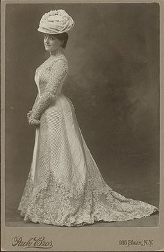 Early 1900s portrait. I think those stripes are pintucks... imagine the work!! But oh how gorgeous.