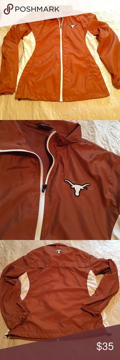 Longhorn Windbreaker Jacket Zip up University of Texas Longhorn (UT) Windbreaker Jacket. Rarely ever worn. Drawstring on the bottom of Jacket with pockets in the front. Women's size L! Stadium Athletics Jackets & Coats