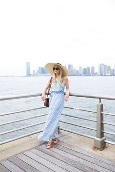 Polka Dot Long Dress + Flat Strap Sandals