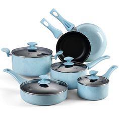 10Pcs Cookware Set Coating Pan Sauce Pan Nonstick Aluminum
