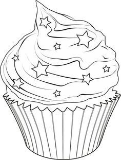 Cute Drawings: Cupcakes, ice creams and cakes (Cupcakes, ice creams and cakes) Cupcake Coloring Pages, Coloring Book Pages, Printable Coloring Pages, Coloring Sheets, Food Coloring, Coloring Pages For Kids, Image Digital, Applique Patterns, Copics