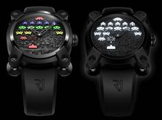 Un homenatge al mitic videojoc! TAITO Corporation has teamed up with luxury watch manufacturer Romaine Jerome to resurrect their very famous 1978 video game Space Invaders. Space Invaders, Romain Jerome, High End Watches, Elegant Watches, Unusual Watches, Keep An Eye On, Cool Tech, Gadgets And Gizmos, Take My Money