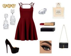 """Engagement night"" by scarletthurst ❤ liked on Polyvore featuring beauty, Christian Louboutin, Yves Saint Laurent, Chanel and Balmain"