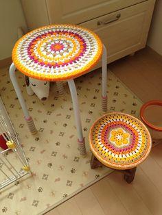 crochet cover for stool.  #crochet #cover #stool