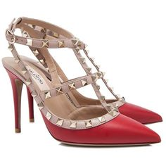 Valentino Garavani Rockstud Ankle Strap Heels ($800) ❤ liked on Polyvore featuring shoes, red, ankle strap shoes, adjustable shoes, red studded shoes, genuine leather shoes and ankle wrap shoes