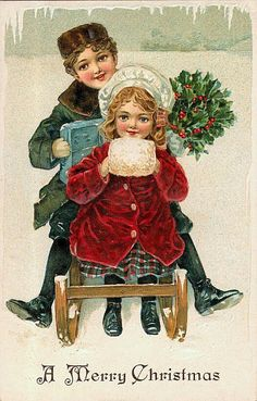 Victorian children on sled vintage Christmas postcard  #muff…