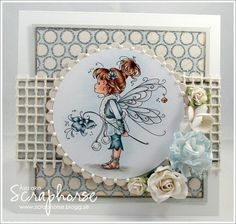 Whimsy stamp - great coloring - layout - pearls around circle - bjl