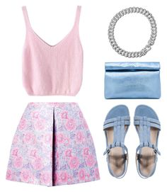 """""""MSGM Pink Flower Lurex Brocade Skirt"""" by goldiloxx ❤ liked on Polyvore featuring MSGM, ECCO, Marie Turnor and David Yurman"""