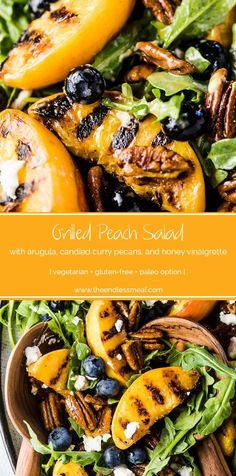 SAVE FOR LATER! Grilled Peach Salad is the ultimate summer side dish recipe. The peaches are grilled until smoky and extra sweet and served with arugula, blueberries, candied curry pecans, and a honey vinaigrette. Add some goat cheese or (paleo-friendly! Side Dishes For Bbq, Summer Side Dishes, Side Dish Recipes, Bbq Recipes Sides, Grilled Peach Salad, Grilled Peaches, Soup And Salad, Pasta Salad, Egg Salad