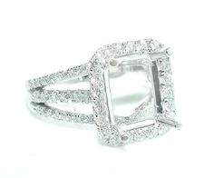 1.25CT Rectangular Halo Triple Split Shank DIAMOND Engagement Ring Setting 14KWG in Jewelry & Watches, Engagement & Wedding, Engagement Rings | eBay