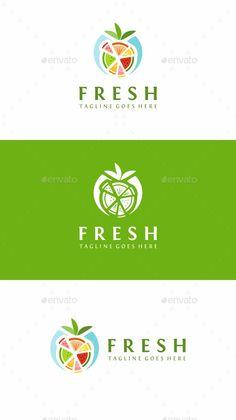 Fresh Fruits: Food Logo Design Template by Resturant Logo, Logo Restaurant, Food Logo Design, Logo Food, Shop Banner Design, Juice Logo, Fruit Logo, Fruit Cartoon, Fruit Packaging