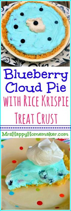 This Blueberry Cloud Pie has a Rice Krispie Crust, and it's unlike any pie you've ever tasted. The blueberry filling is so creamy. This pie is DELICIOUS!