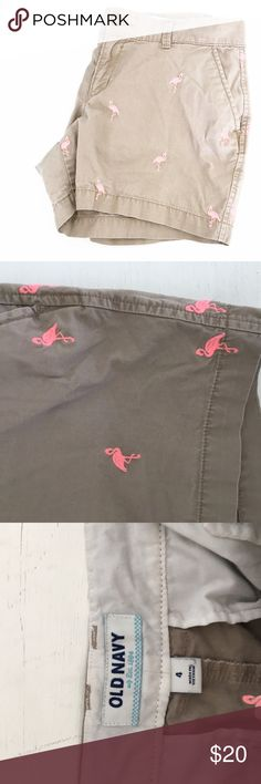 """Old Navy Embroidered Flamingo Chino Shorts Gently pre-loved with no rips or stains. Please see all pictures for an accurate description of condition. 100% cotton. 4.5"""" Inseam. 32"""" Waist. *0318170199* Old Navy Shorts"""