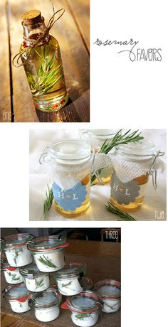 rosemary wedding favors   First pic: olive you need is fresh herbs, olive oil and a bottle, and you're ready to make this delicious and practical wedding favor. Your guests will love the thoughtfulness, and you'll love the simplicity of the project! Add a personal label
