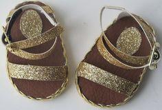 """Gold Glitter Sandal For 18"""" Dolls"""