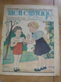 MON OUVRAGE.1937. BRODERIE. N 349 DU 1 SEPT.COUV ENFANTS. LA CUEILLETTE .RAISIN