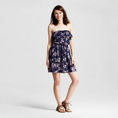 Women's Off the Shoulder Dress Navy Print - Mossimo Supply Co.