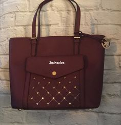 Michael Kors Merlot Saffiano Gold Studded Pocket Large Leather Tote Crossbody  #MichaelKors #TotesShoppers