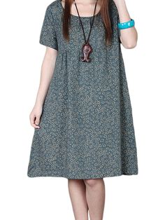 Sale 26% (18.69$) - Casual Women Short Sleeve Floral Printed Cotton Linen Dress