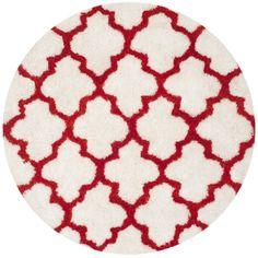 Safavieh Handmade Barcelona Shag White/ Rust Trellis Polyester Rug (5' Round) (BSG319E-5R), Size 5'