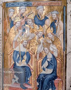 estminster Abbey, A page from the Liber Regalis, a manuscript giving the order for coronation ceremonies. King and queen enthroned. England. 14th century