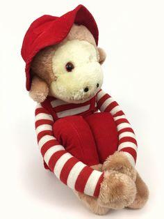 Vintage Knee Hugger Plush Monkey Red Corduroy Overalls Hat Striped Hug Sock   eBay