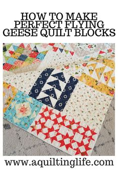 Perfect Flying Geese Quilt Blocks - A Quilting Life Quilting Tips, Machine Quilting, Quilting Designs, Scrappy Quilts, Mini Quilts, Quilt Kits, Quilt Blocks, Pillos, Bright Quilts