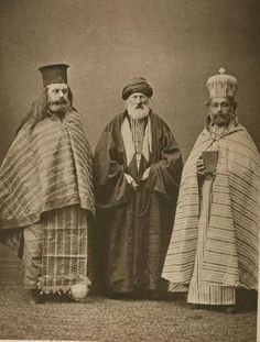 Image showing people of Konya. It is one of the 74 pictures taken by Pascal Sebah and curated by Osman Hamdi bey (Director of Imperial Museum, Müze-i Hümayun) for Vienna Expo 1873.   1): Armenian priest of Koniah (Konya); (2): Mullah of Koniah (Konya); and (3): Greek priest of Koniah (Konya).