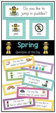 Easy-to-read questions of the day for spring. Use for attendance, morning meeting, graphing and more.
