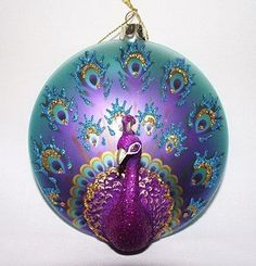 Peacock glass ornament More Peacock Christmas Tree, Peacock Ornaments, Peacock Crafts, Peacock Decor, Peacock Art, Peacock Feathers, Christmas Balls, Christmas Colors, Christmas And New Year