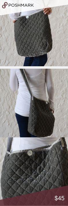 Bella Notte Silk Velvet Quilted Messenger Bag Silk Velvet Quilted Messenger Bag in FOG. New with tag. Bella Notte Bags Crossbody Bags