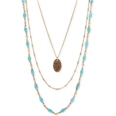 Lucky Brand Three-Layer Necklace ($49) ❤ liked on Polyvore featuring jewelry, necklaces, gold, layered necklace, multi layered necklace, lucky brand jewelry, gold tone necklace and layered jewelry