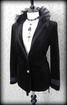 Victorian Goth Black Velvet Frilly Lace Up Riding Jacket 14 16 Vampire Romance | THE WILTED ROSE GARDEN                                                                                                                                                                                 More