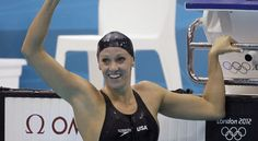 Dana Vollmer wins 100 Butterfly Gold Medal and sets a new World Record. Dana suffered from long QT syndrome, a heart condition that can cause arrythmias and sudden death.  Her mother used to carry a portable defibrillator to meets.