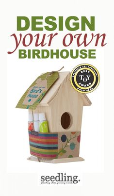 Create a unique home for your special bird pals. Winner of the Oppenheim Toy Portfolio Gold Toy Award, our easy DIY kit comes with acrylic paints to create an adorable wooden bird house that is as coz Wood Projects, Craft Projects, Crafts For Kids, Arts And Crafts, Bird House Kits, Creation Deco, Design Your Own, Bird Houses, Diy Gifts