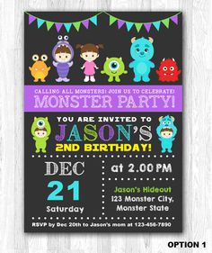 Hey, I found this really awesome Etsy listing at https://www.etsy.com/listing/230547997/monster-invitation-monster-birthday