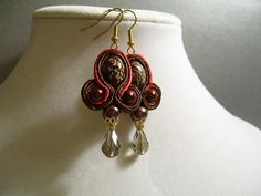 Soutache Red and Chocolate Brown Earrings with by BellaLucaDesigns