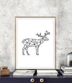 deer printable deer wall art deer print by themoderntrend on etsy geometric elephant elephant wall