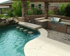 33 Wonderful Pool With Outdoor Kitchen. If you are looking for Pool With Outdoor Kitchen, You come to the right place. Here are the Pool With Outdoor Kitchen. This post about Pool With Outdoor Kitche. Backyard Pool Designs, Swimming Pools Backyard, Swimming Pool Designs, Backyard Patio, Outdoor Pool, Backyard Landscaping, Patio Bar, Swiming Pool, Lap Pools