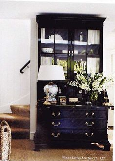 Vogue Living The crisp pop of white accessories on a piece of black furniture is such a focal point. Black Furniture, Painted Furniture, Painted Hutch, Furniture Design, Furniture Inspiration, Interior Inspiration, Design Inspiration, Theodora Home, Vogue Living