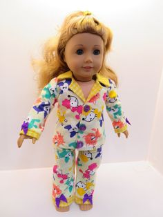 "American Girl Doll and Other 18"" Dolls Pajamas by NoreensDollClothes on Etsy"