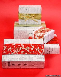 Japanese-Style Newspaper Gift Wrap  If you're still searching for that perfect gift wrap, look no further than your local newsstand. Add an unusual and memorable twist by wrapping your presents using foreign-language newspapers.