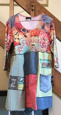 Upcycled Women'd Tunic created from repurposed clothing.