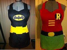 Batman & Robin aprons... LOL cute!